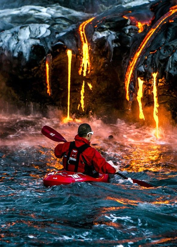 Lava pouring into water