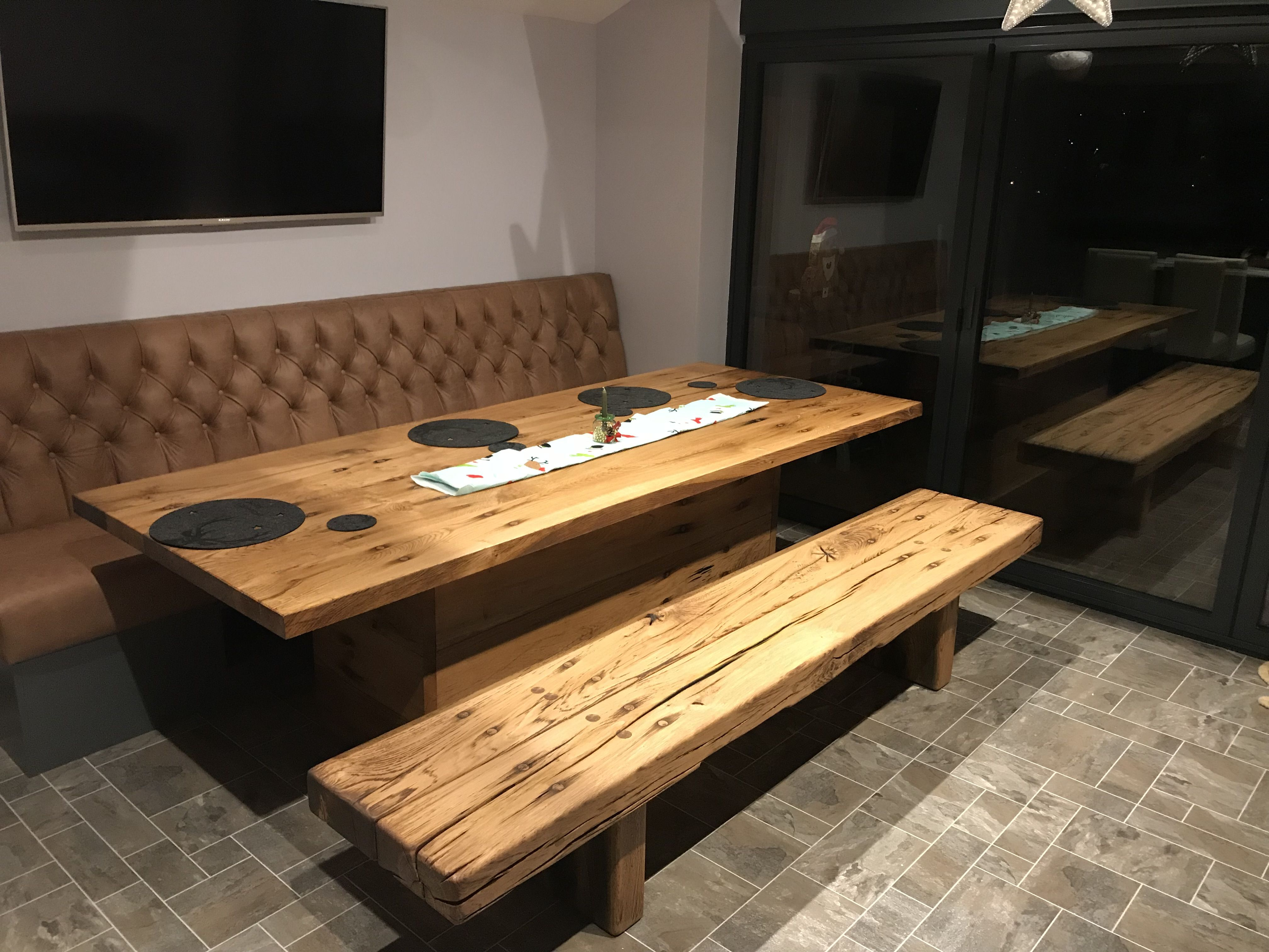 Table & bench made from reclaimed railway sleepers ...