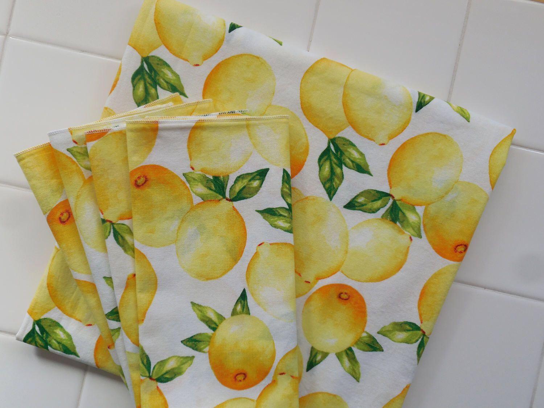 Lemon Tablecloth And Set Of Four Lemon Napkins Summer Picnic Tablecloth,  Yellow Cotton Cloth Lemonade