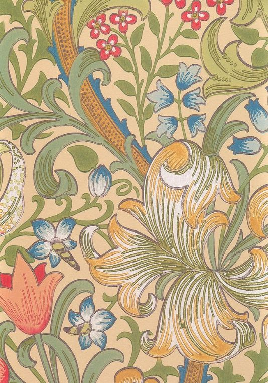 Golden Lily Wallpaper Classic William Morris floral print