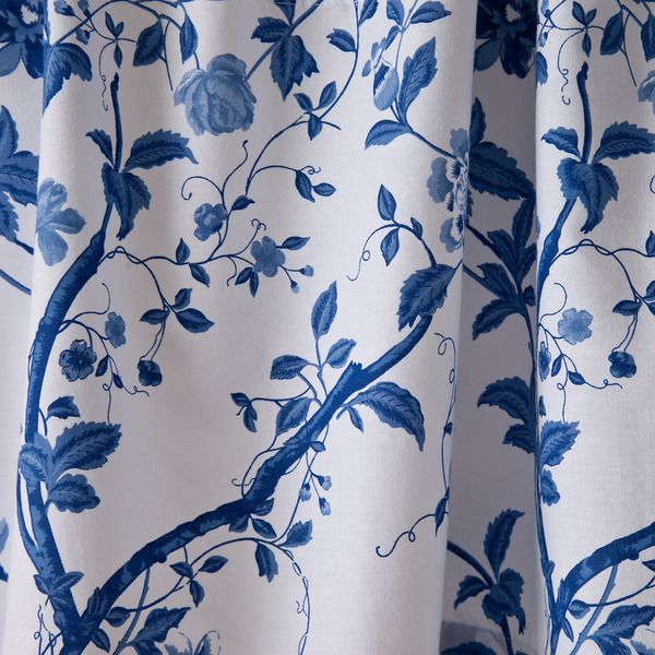 Laura Ashley Charlotte Blue White Floral Cotton Shower Curtain 72 X