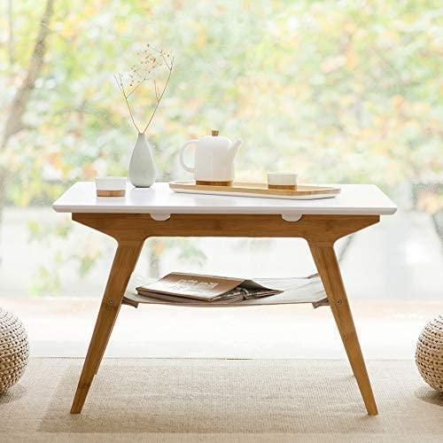 Amazon Com Zen S Bamboo Square Coffee Table Double Layer White