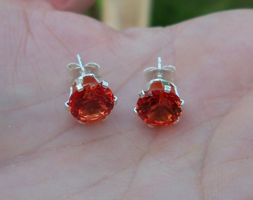 created padparadscha diamond sapphire and yellow gold earrings chatham
