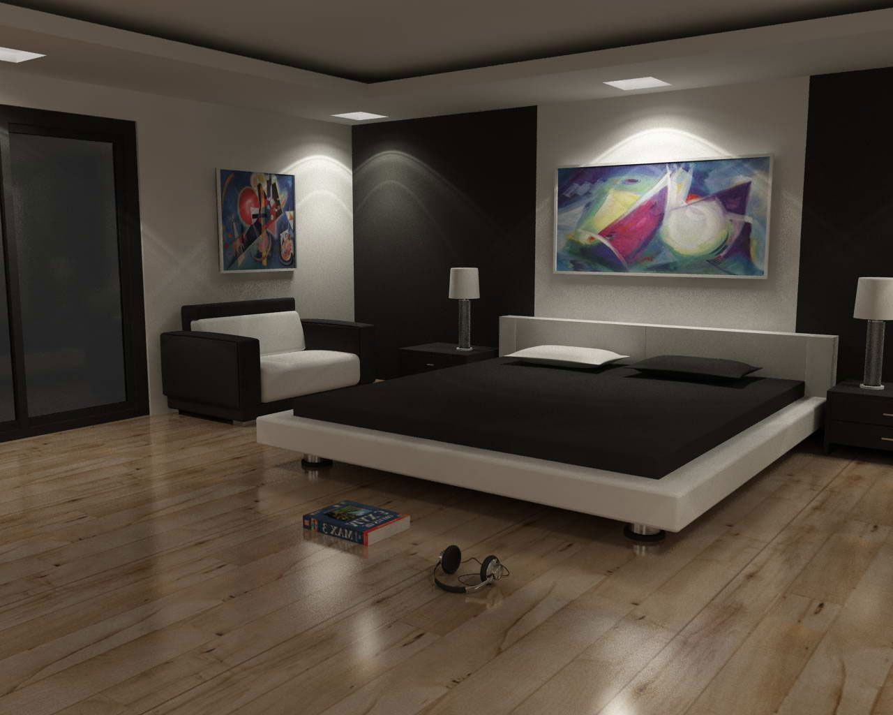 Remarkable Modern Bedroom With Classy Low Bed Frame Featuring Black And White Corner Sofa The