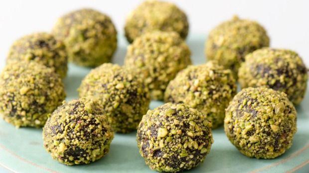 Prune & Pistachio Truffles   1 cup Brazil nuts  1 cup pitted prunes  ⅓ cup good quality unsweetened cocoa powder  3 tablespoons almond or coconut milk   2 tablespoons maple syrup    For rolling:  ½ cup finely chopped pistachios (or cocoa)
