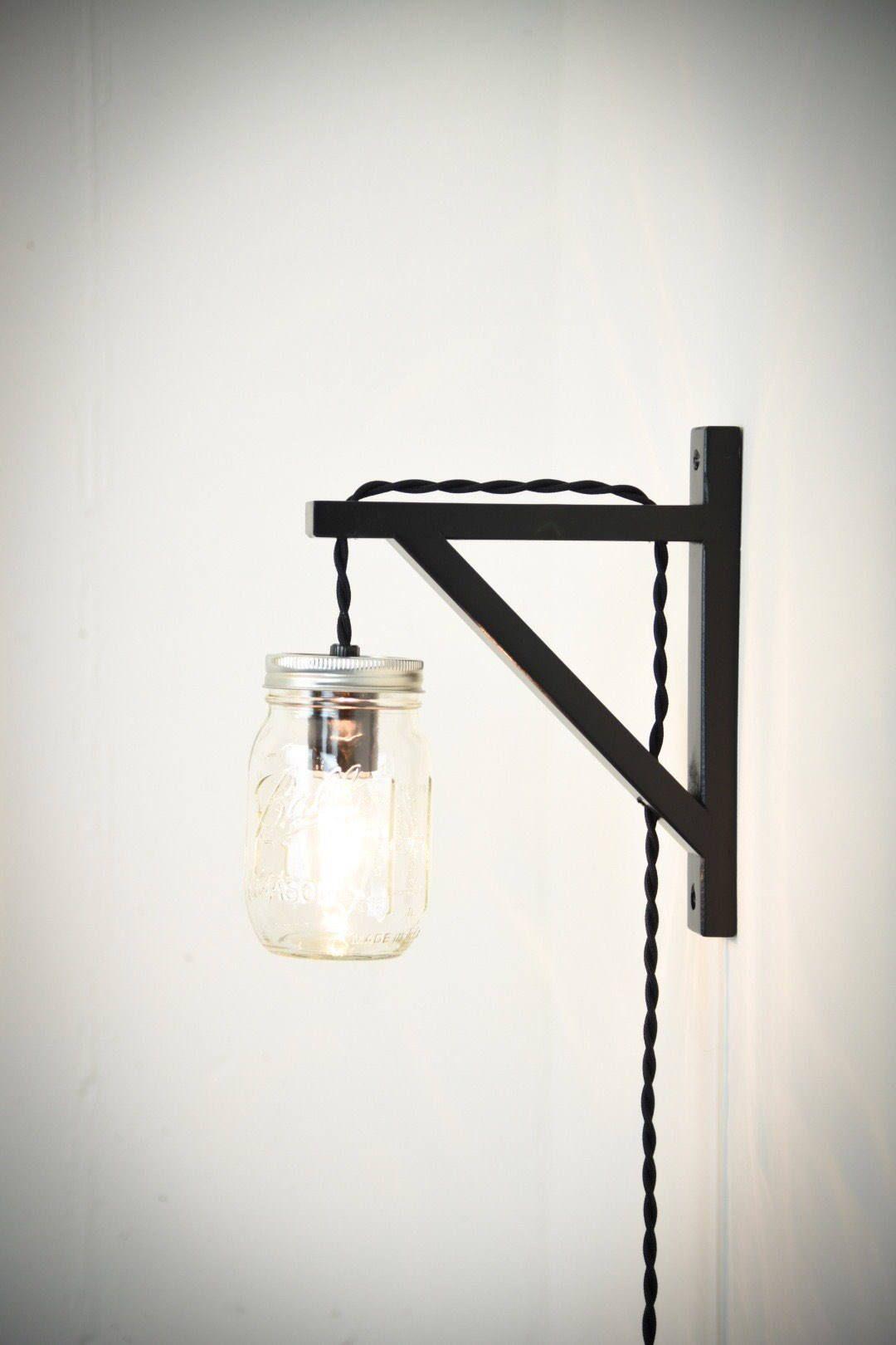 Mason Jar Wall Sconce Plug In Wall Sconce Wall Light Black Wall Lamp Plug In Light Rustic Mason Jar Wall Sconce Black Wall Lamps Candle Wall Sconces