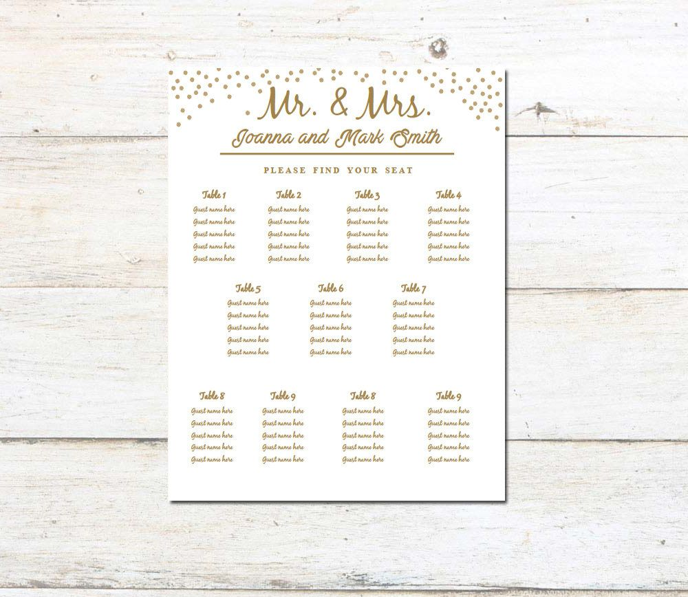 event seating chart template elegant and classy gold template