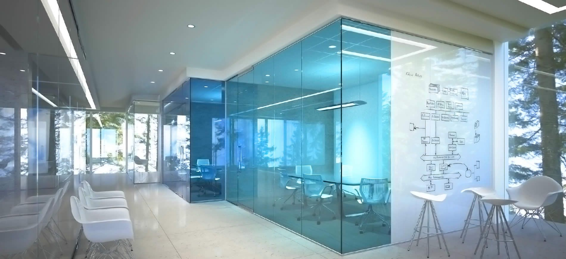 Clarus is the leading manufacturer in decorative glass for Office design blue