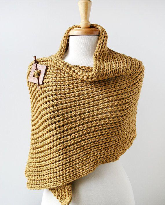 merino wool & cashmere hand-knit wrap with wood shawl pin ...