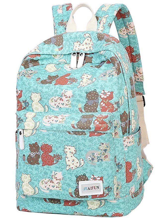 Amazon.com | Mygreen Lightweight Leisure Dot 14 Inch Laptop Backpacks Cute Girls Canvas School Backpack Black | Kids' Backpacks