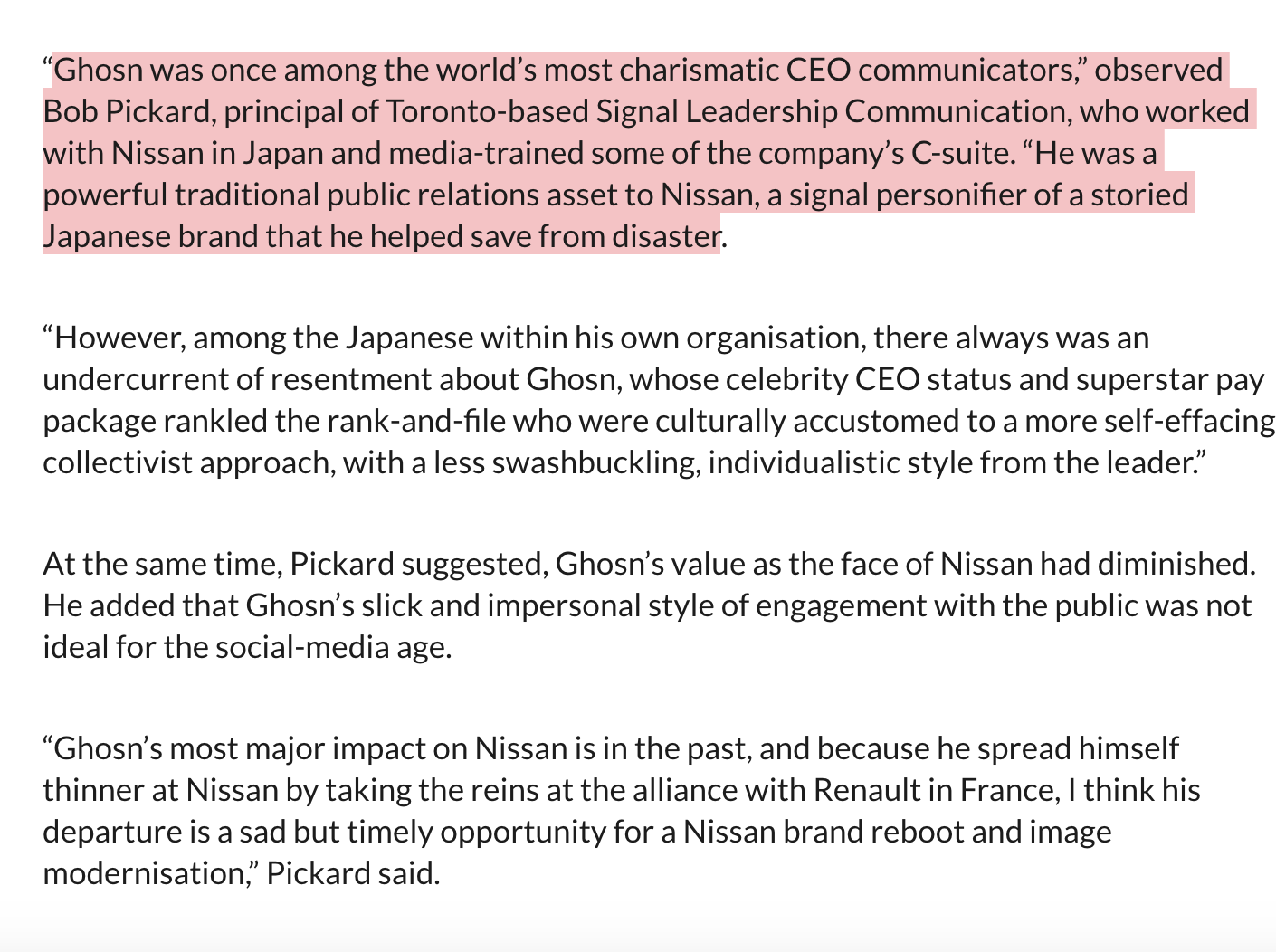 Nissan S Ghosn Scandal The Brand Impact Public Relations