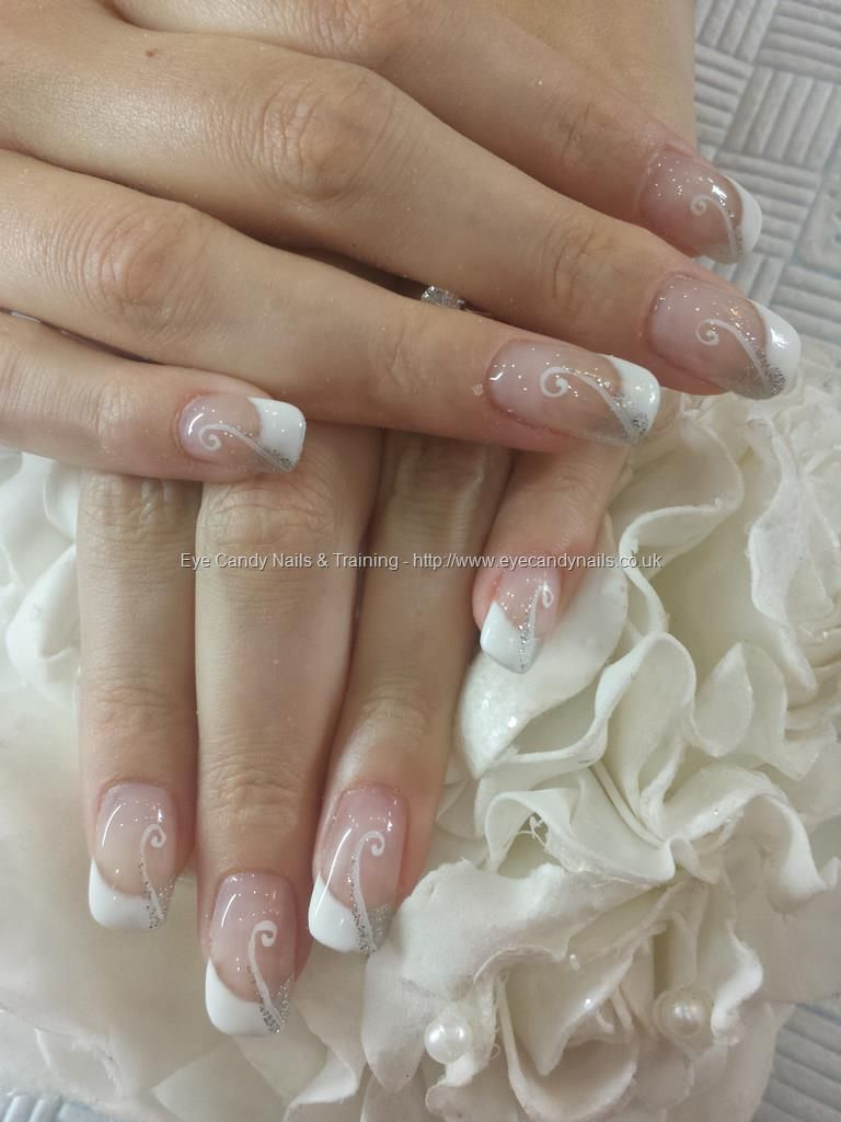 Wedding Bridal Silver And White French With Freehand Swirl Nail Art