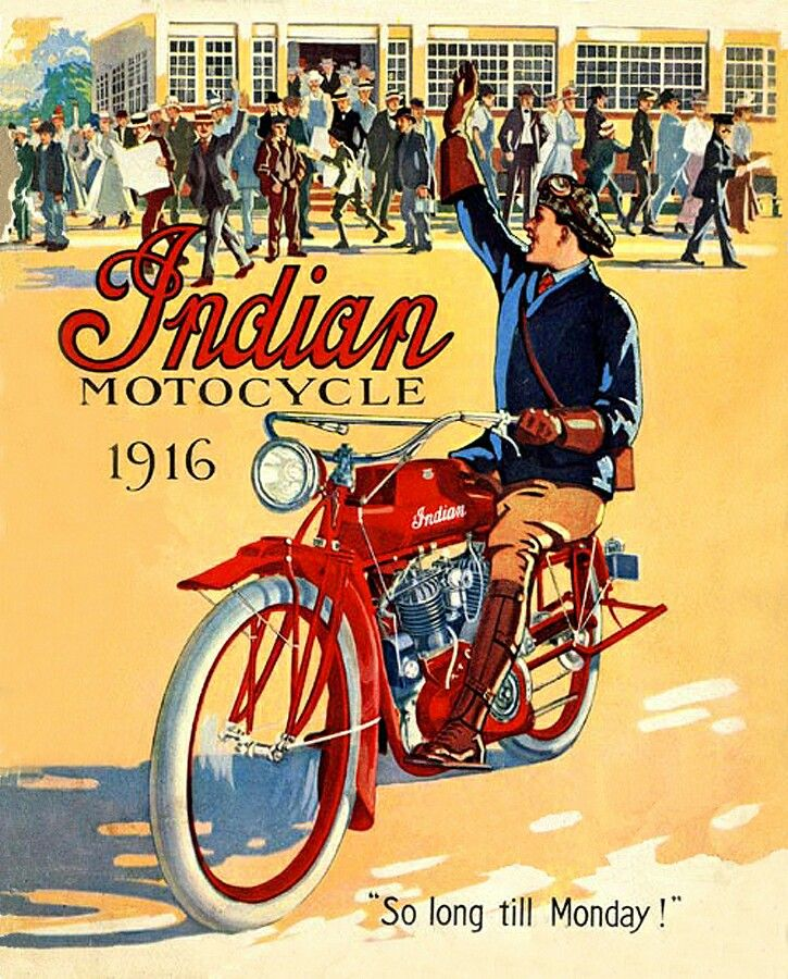 Nice Indian motorcycle ad from the WWI period | Vintage
