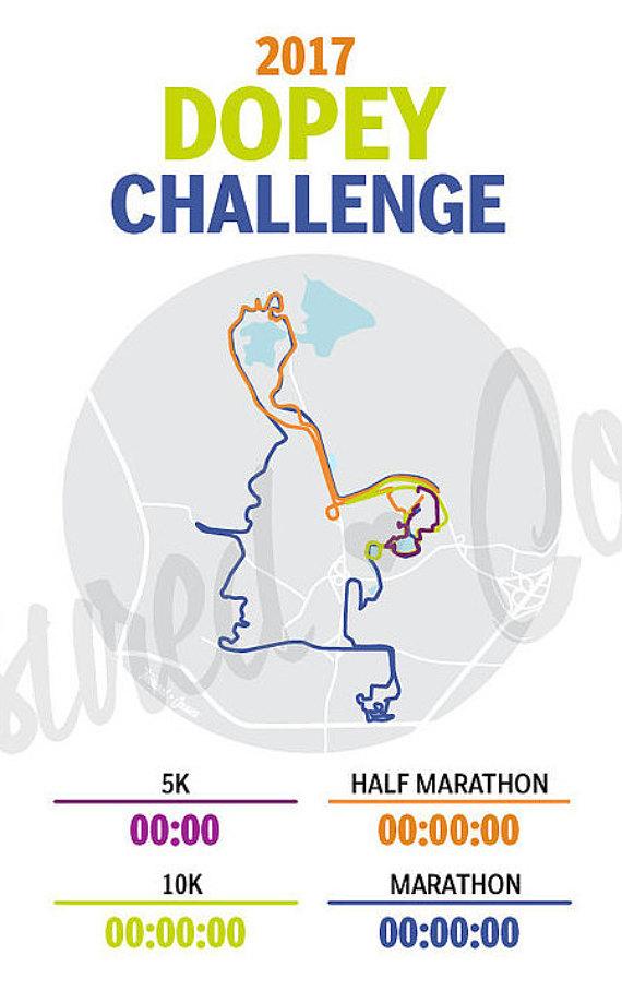 Disney Marathon Course Map 2017 : disney, marathon, course, Dopey, Challenge, Digital, Print, Options, Custom, Challenges