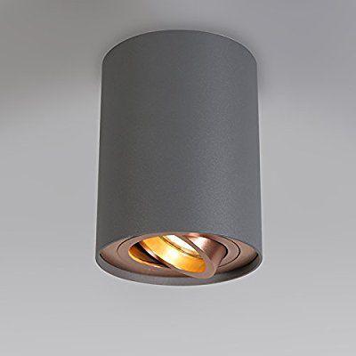 QAZQA Design Moderne Spot de plafond Rondoo Up gris et cuivre
