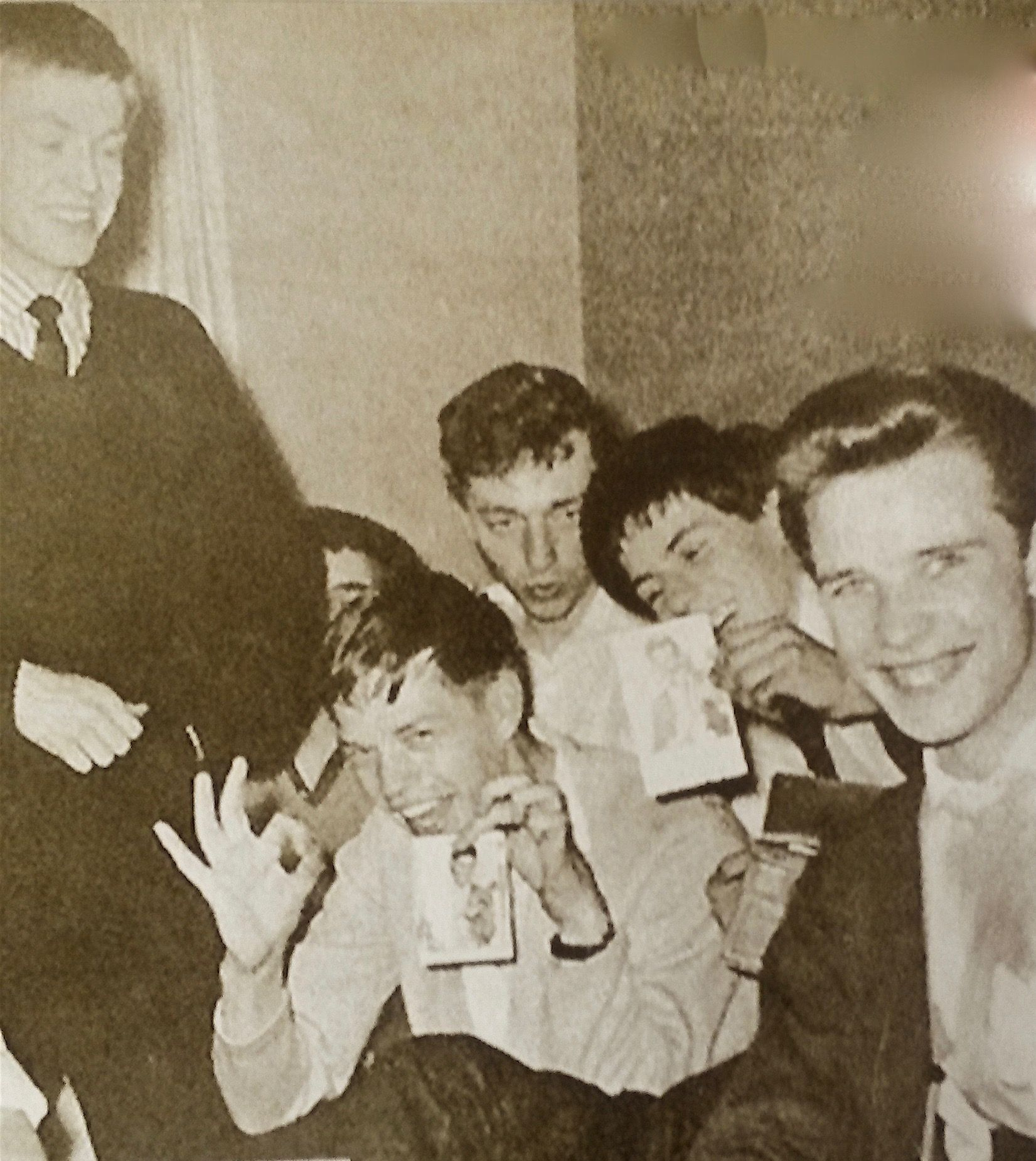 Rarity* Mick 26 Sept  1962 with Brian, Keith, Harry Simmonds,Graham Ackers.