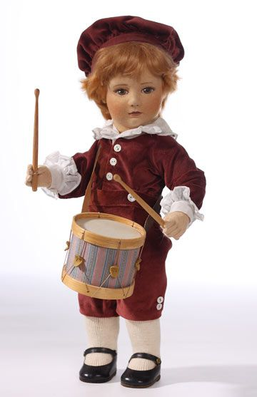 Edward And His Drum, 49907, by R. John Wright  Edward is number 41 of 150.17 inch tall Edward is a five-way jointed doll made of molded felt.