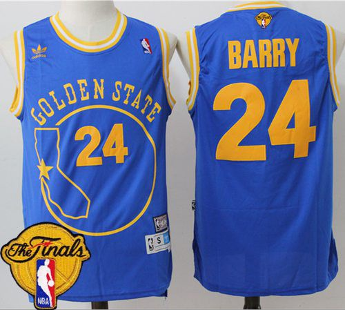 reputable site 461be f9afe Warriors #24 Rick Barry Blue Throwback Golden State The ...