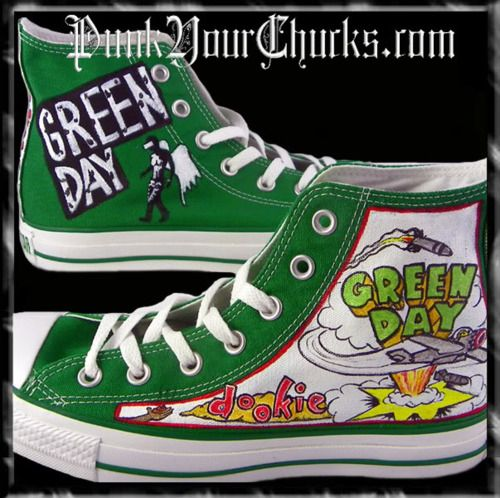 ba3960b4257a Oh jeez!! I want these!! Green Day chucks!!!