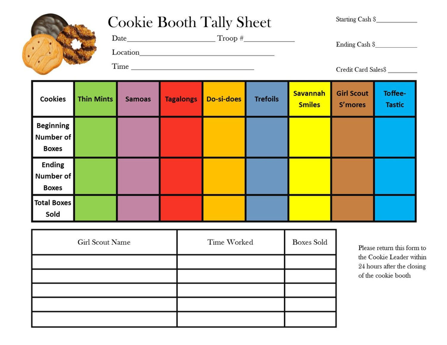 girl scout cookie booth tally sheet by troopdesigns on etsy girl scout meetings pinterest. Black Bedroom Furniture Sets. Home Design Ideas