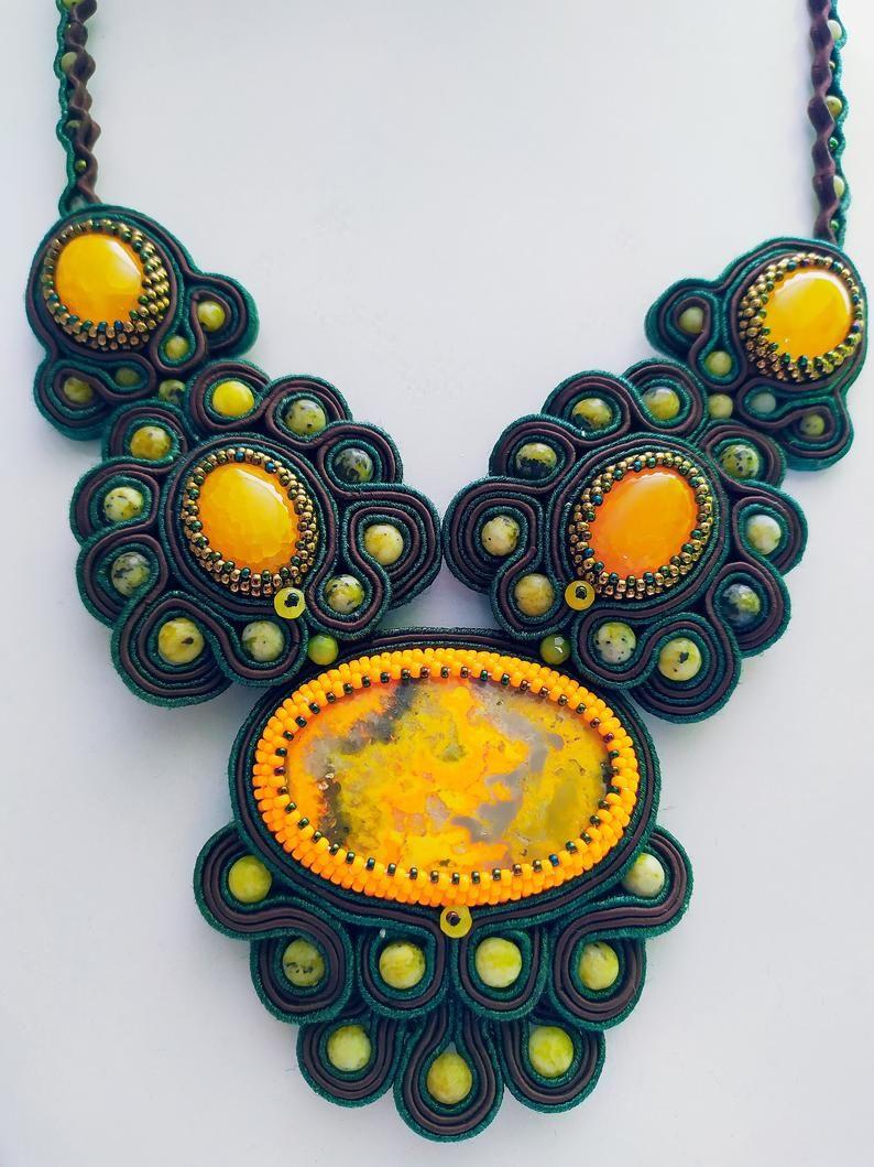 Statement necklace Bib necklace statement embroier Art necklace Art bib necklace Jasper necklace Large yellow necklace Statement jewelry