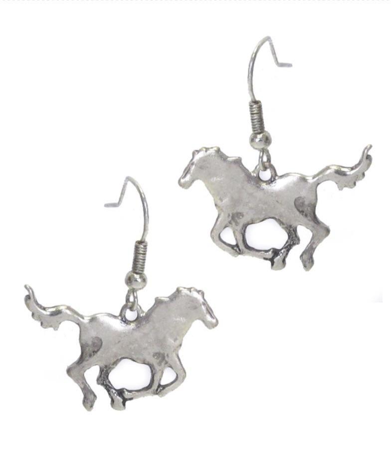 Farm animal theme metal earring - horse. 1 1/8 x 3/4 inches