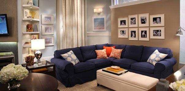 Nate Blue Sofa Living Family Room Makeover Blue Living Room