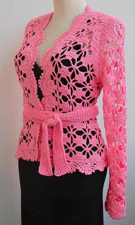 Cómo tejer la hermosa chaqueta rosa / DIY | Crochet y Dos agujas ...
