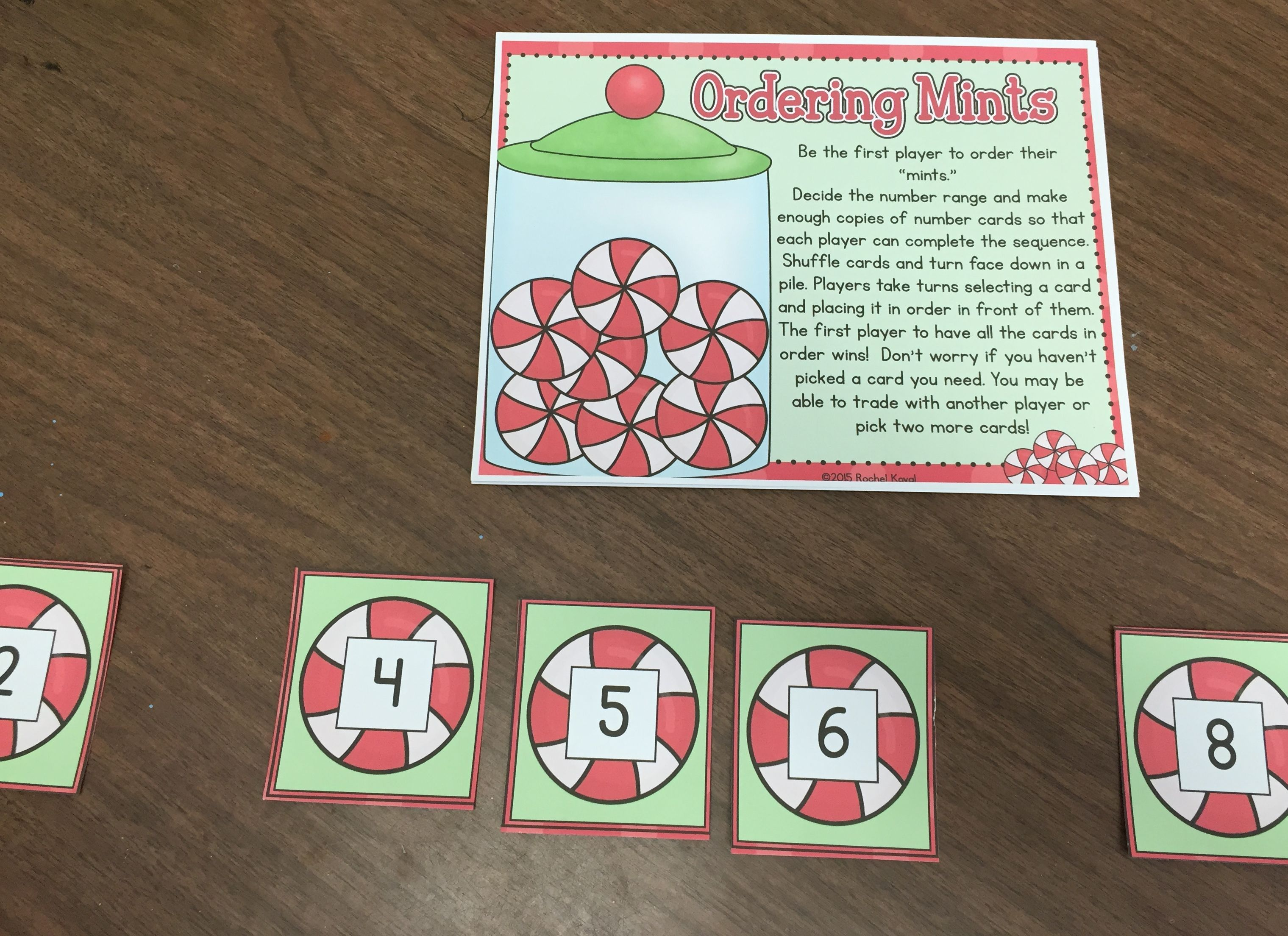 "Holiday/Christmas fun! UPDATED 2015 This product contains fun hands-on activities for your students to reinforce and master their number sense. There are three centers included focusing on identifying numerals, ordering numerals, and filling in the missing numerals. Use real mints or the provided mint pieces! Minty Math Contents: cover page direction card ten frames mint counters number cards through 24 blank number cards ""fun"" cards recordi..."
