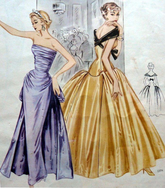 Image Result For Gold 50s Ballgown Vintage Dress Patterns 1950s Fashion Women Vintage Fashion