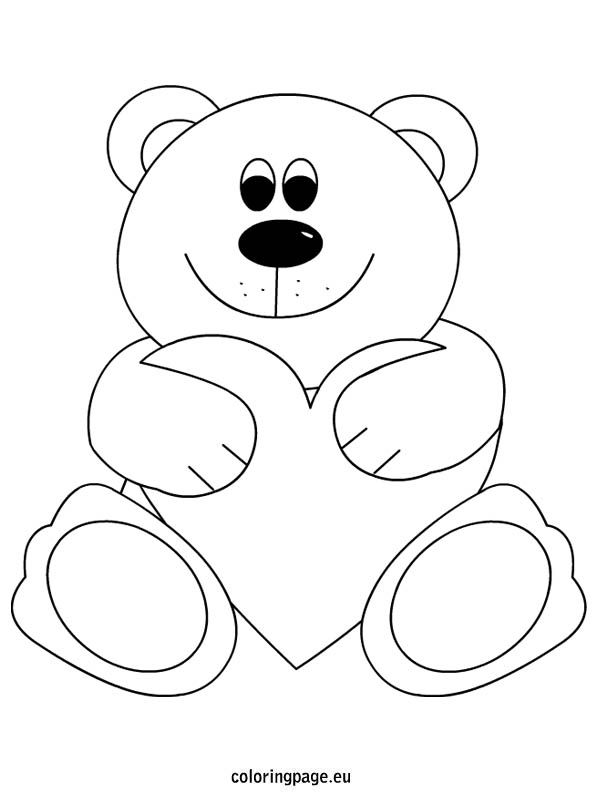 teddy bear heart coloring page