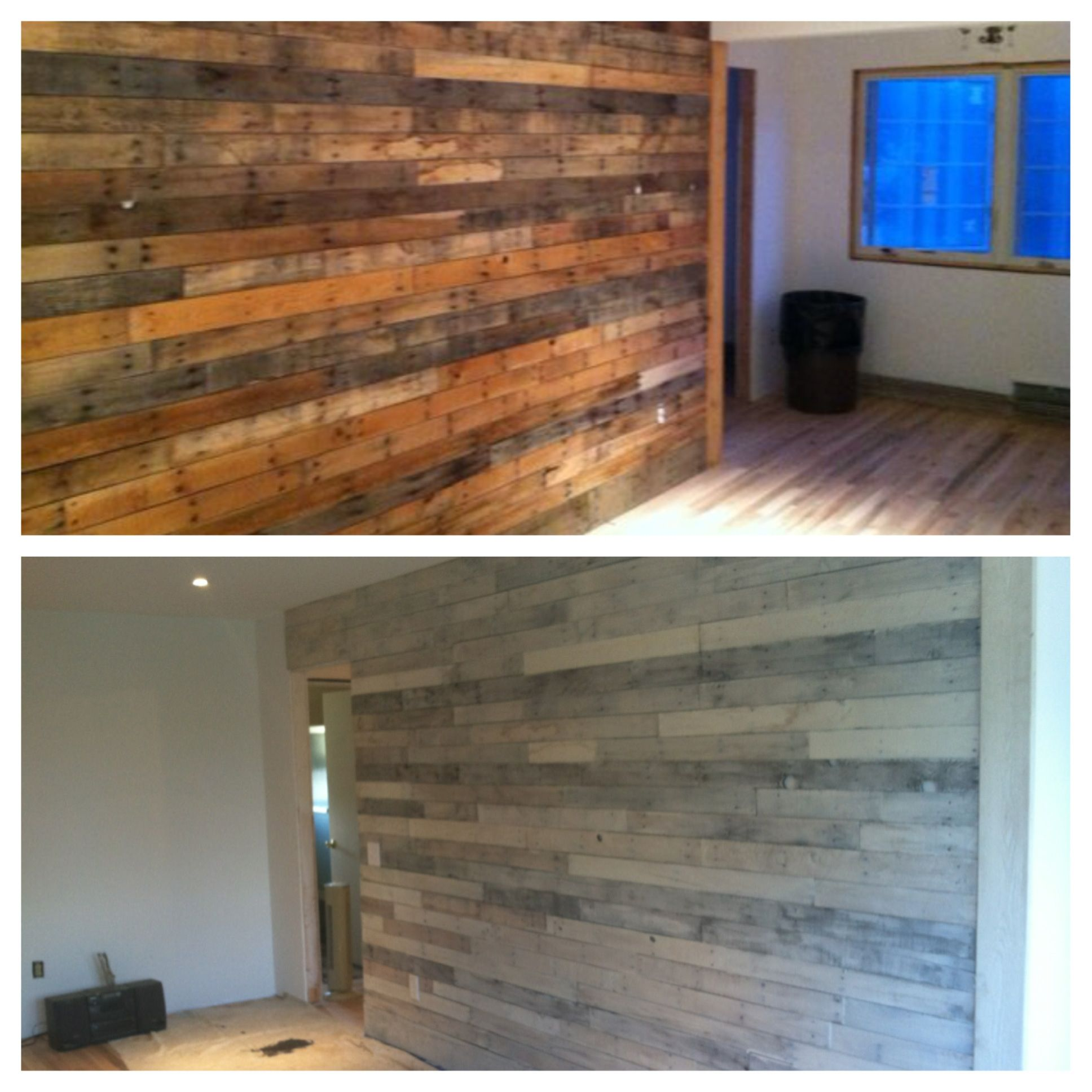 DIY Whitewashed Pallet Wall
