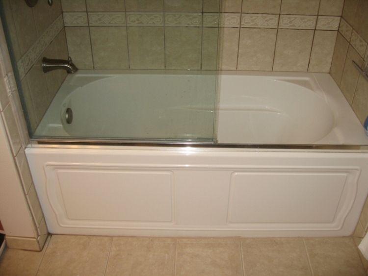 Best Remodel For Tub Shower Enclosure | Kohler Devonshire Tub With Rimless  Shower Doors And Ceramic