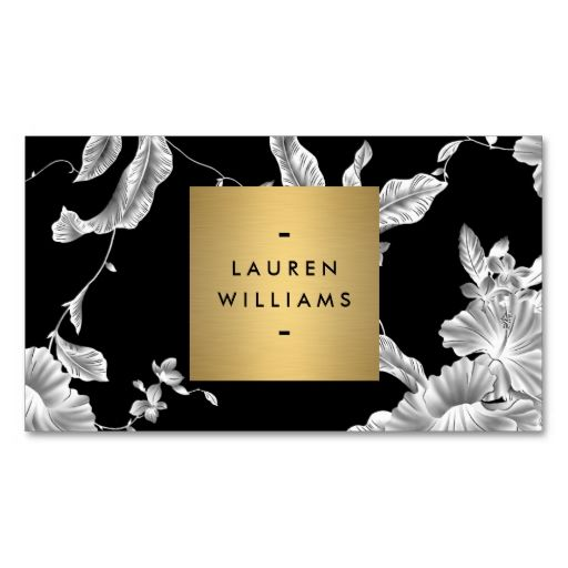 Elegant Black Floral Pattern 3 with Gold Name Logo Business Card Templates. Make your own business card with this great design. All you need is to add your info to this template. Click the image to try it out!