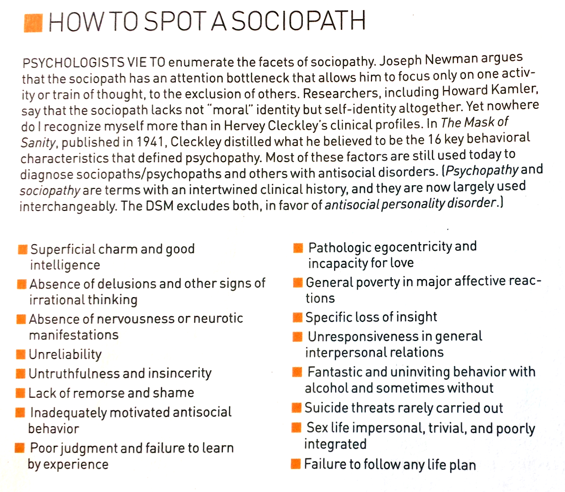 How to recognise a sociopath