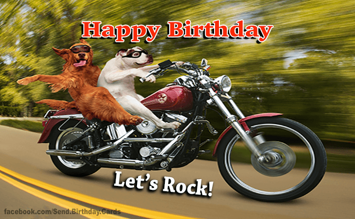 Happy Birthday Wade With Motorcycle Birthday Cards Happy Birthday Lets Rock Biker Dog Happy Birthday Motorcycle Happy Birthday Biker