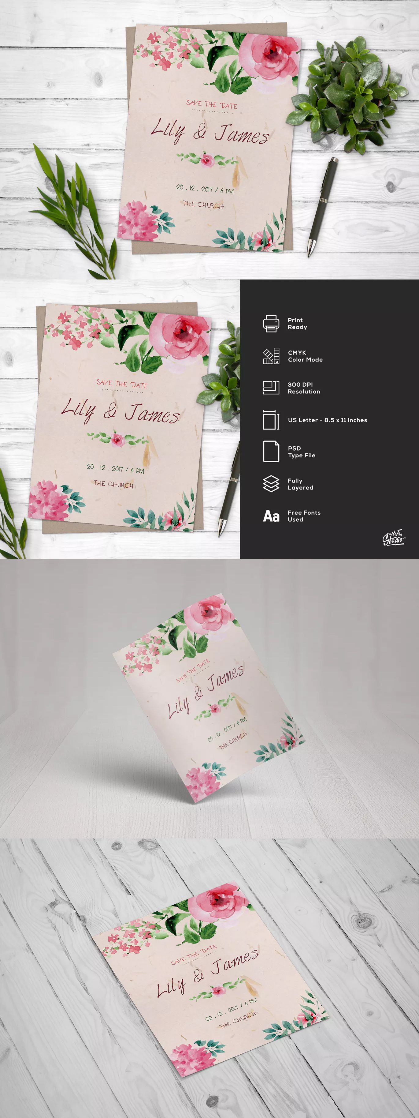 Watercolor Floral Save The Date Wedding Flyer Template PSD US Letter ...