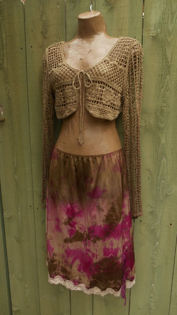 Eco/ Upcycled/ Sexy/ Fairy/ Boudoir/ Hippie/ Boho/ French Boudoir/ Tie Dye Slip/ Skirt