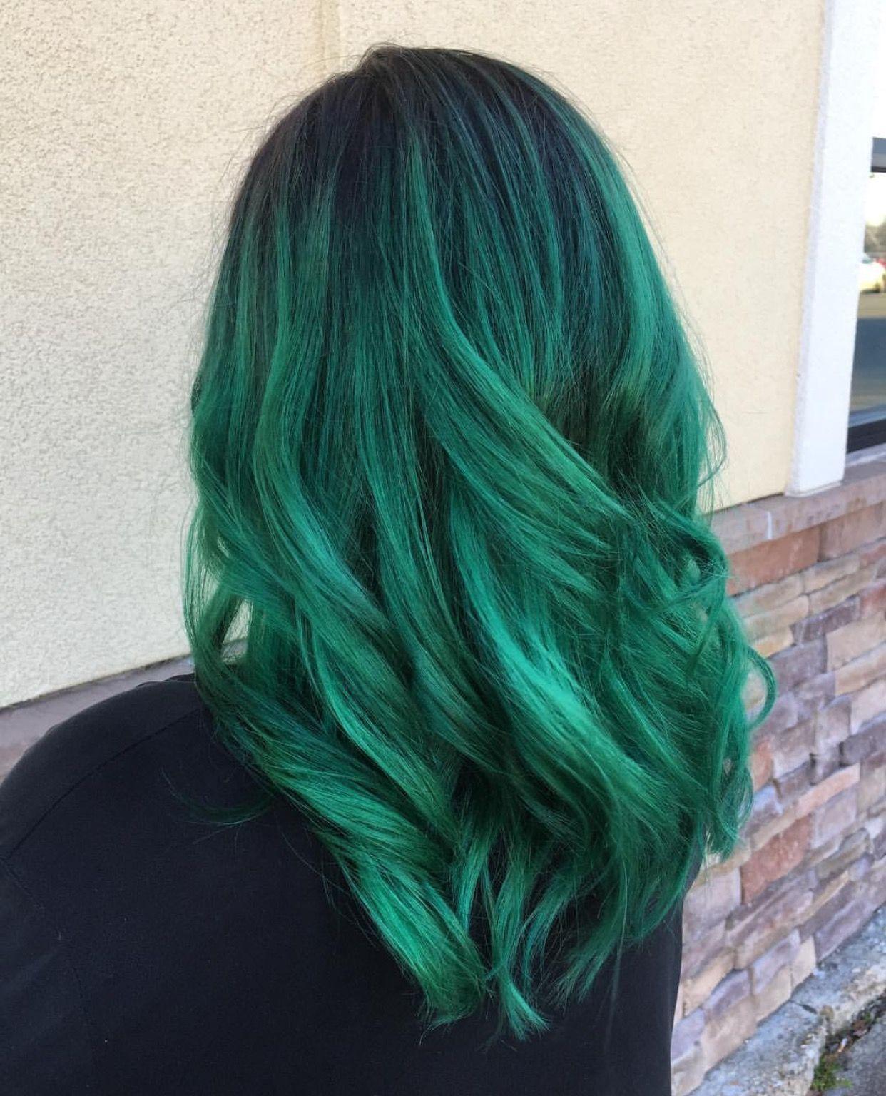 Green hair using a mixture of pulp riot #Emeraldhair # ...