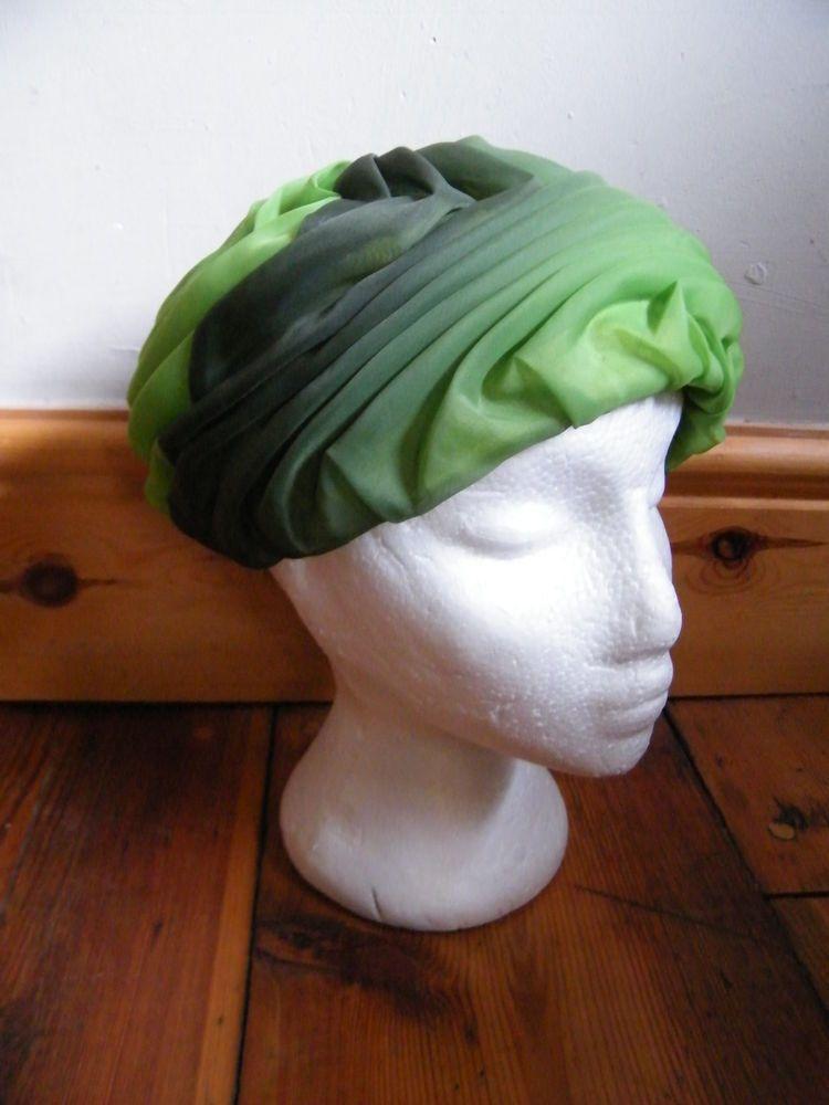 Vintage 50 s green turban hat size small wedding xmas party retro kitsch rare