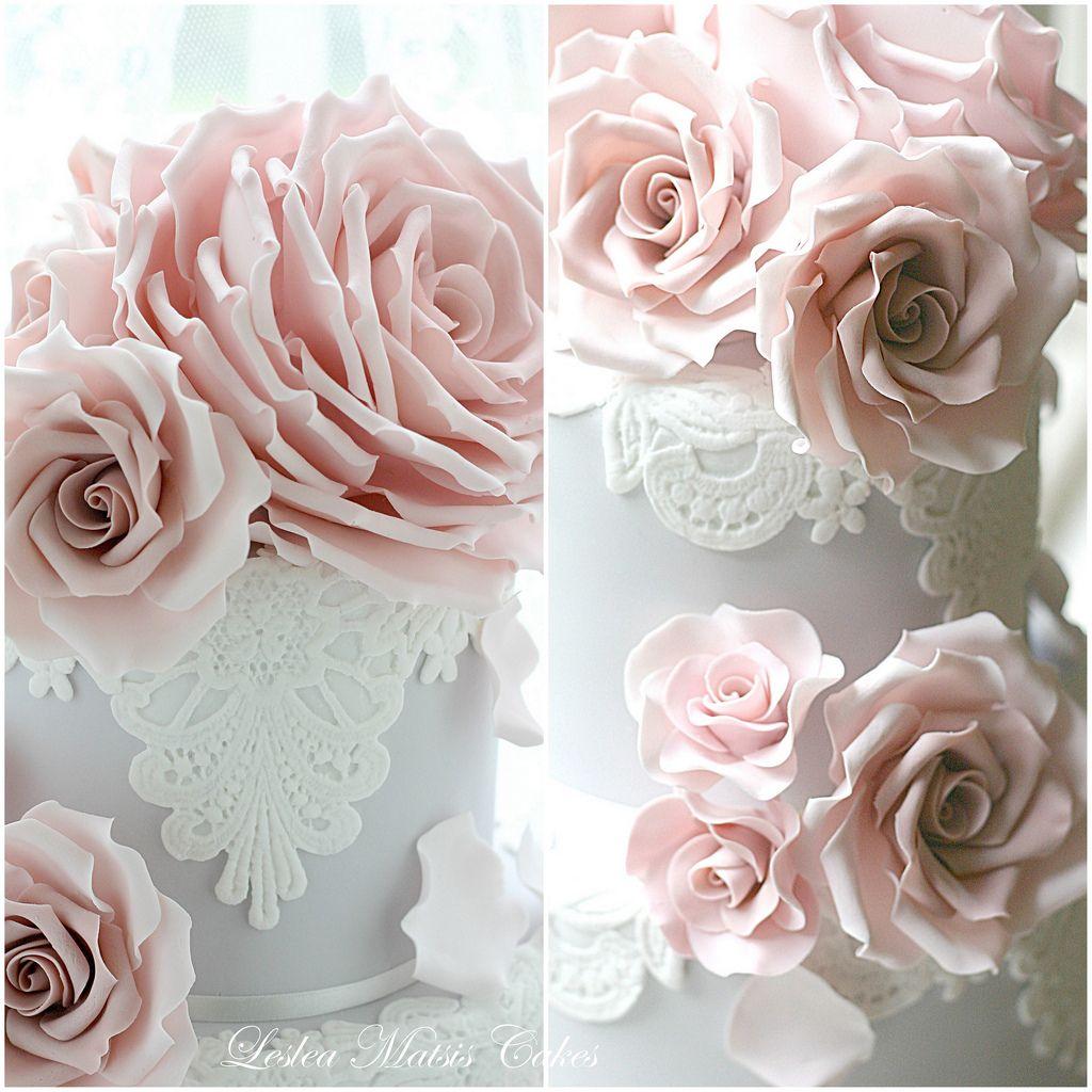 Collage cake wedding cake and sugar flowers