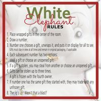 White Elephant Gift Exchange Rules And Printables White Elephant Christmas Christmas Gift Games Christmas White Elephant