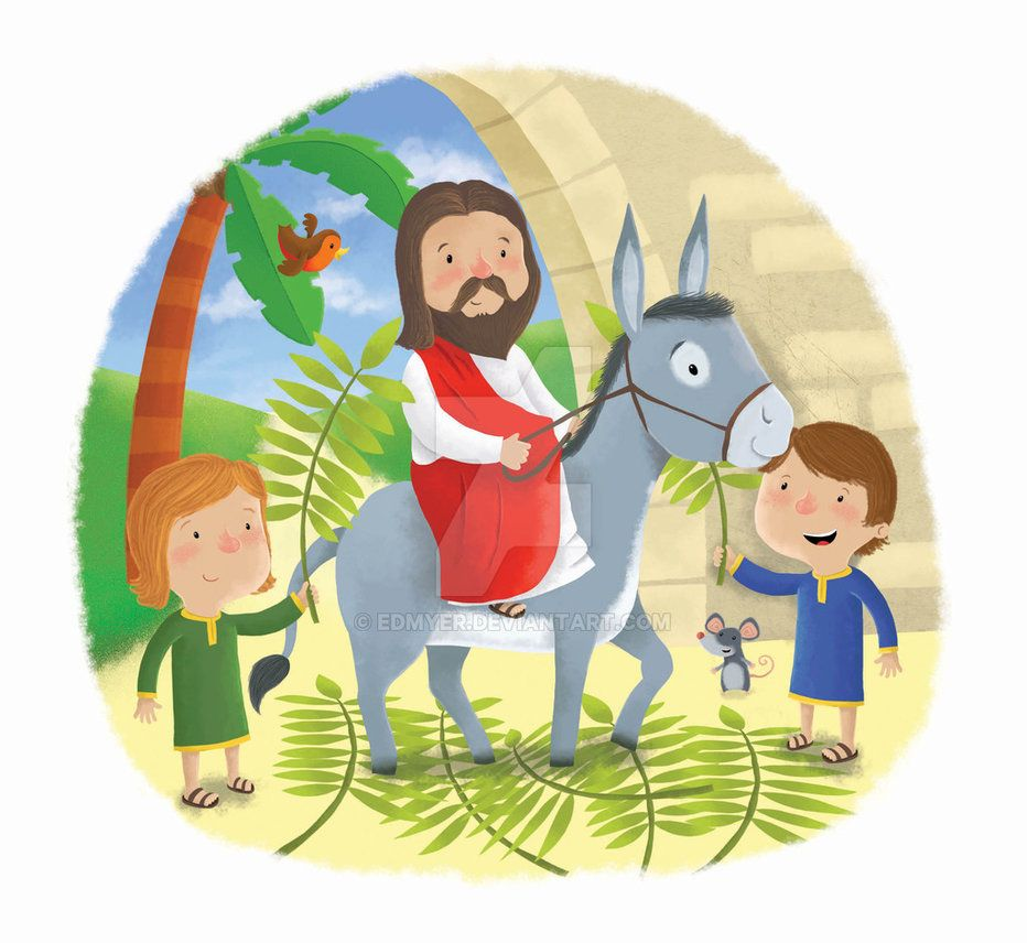 Old Fashioned Jesus Riding On A Donkey Coloring Page Illustration ...