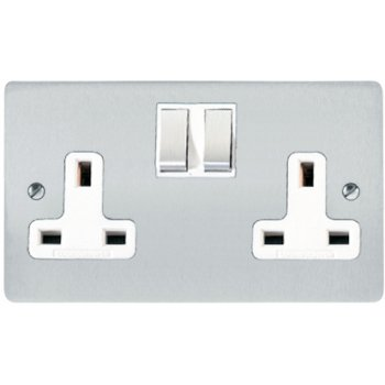 Heritage Brass Elite Flat Plate 2 Gang 13 Amp Double Socket In Satin Chrome With White Trim Chrome Sockets White Trim