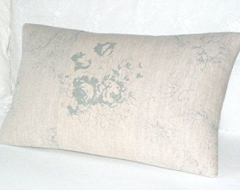 Cabbages and Roses Natural Meggernie Blue Handmade Cushion Cover
