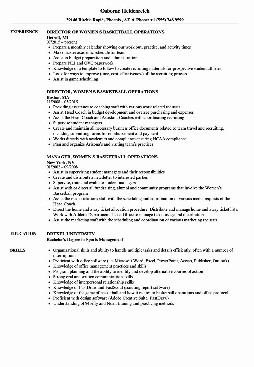 25 Sports Resume for Coaching in 2020 Sales resume