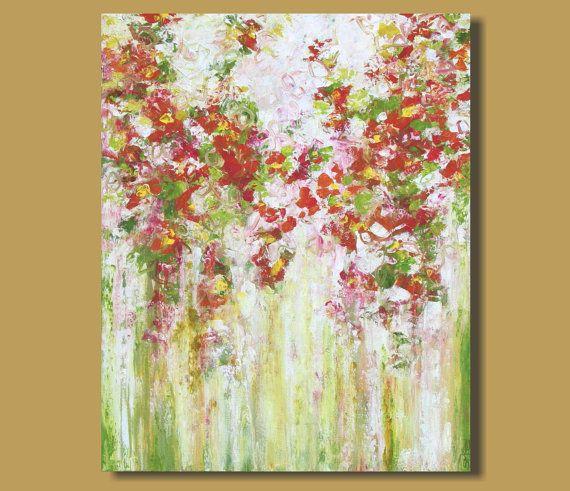 Abstrakte Malerei Von Blumen, Abstrakt Garten Gemälde, Orange, Rosa,  Abstrakte Blüten,