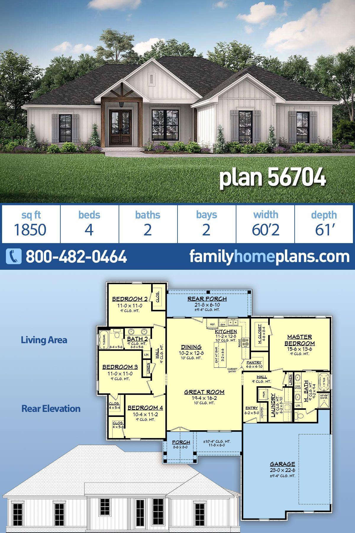 Modern Farmhouse Style House Plan 56704 With 4 Bed 2 Bath 2
