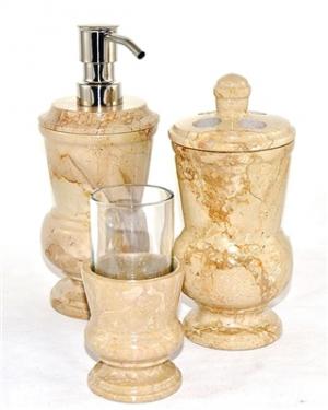 3 Piece Sahara Beige Marble Bathroom Accessory Set Ever Por Has Been