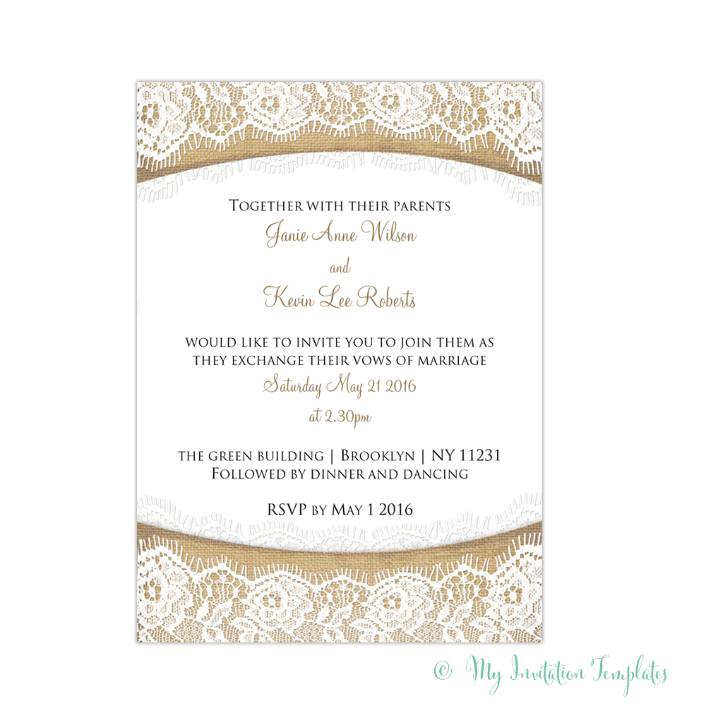 Rustic DIY Burlap And Lace Wedding Invitations Template. DIY Invitations  For Any Occasion, Edit